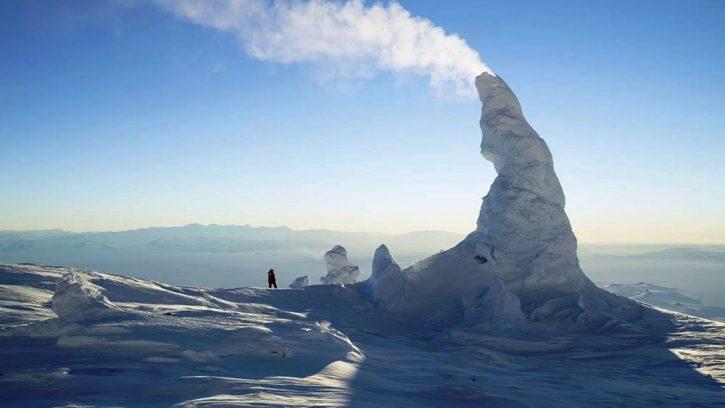 Ледяные башни, расположенные на вулкане Эребус