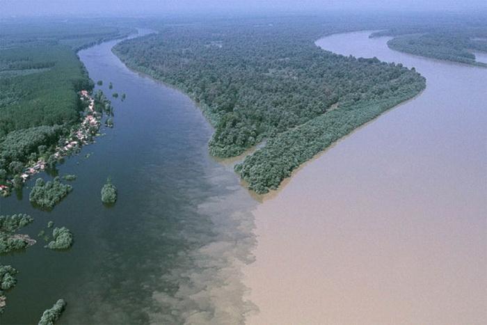 Слияние рек Драва и Дунай недалеко от хорватского города Осиек