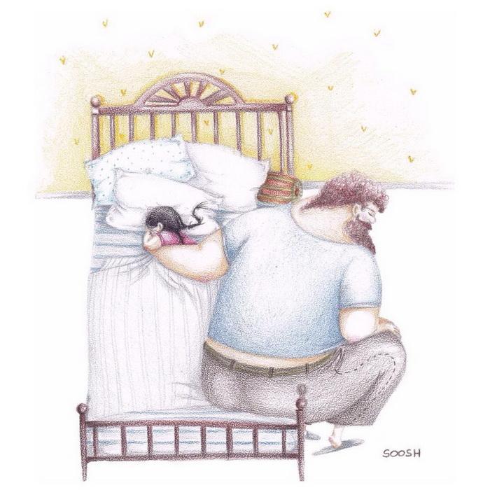 Добрые иллюстрации любви между отцом и дочкой