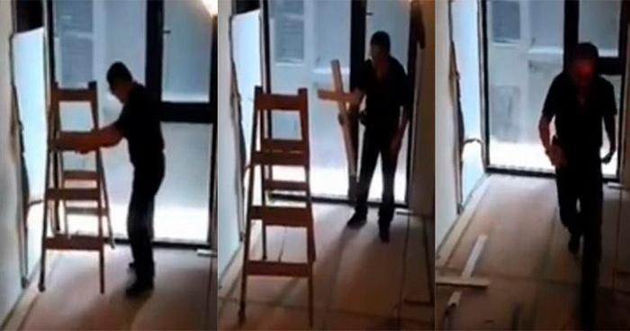 видео кражи лестницы невидимым призраком