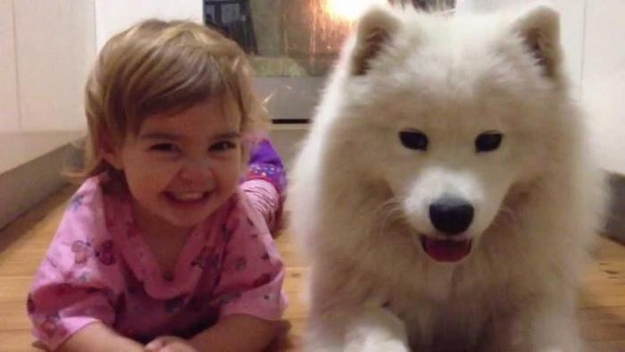 Собака-целовака без ума от малышки